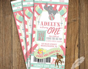 Pastel Circus Birthday Party Ticket Invitations, baby shower, digital file, you print, carnival, clowns, monkeys