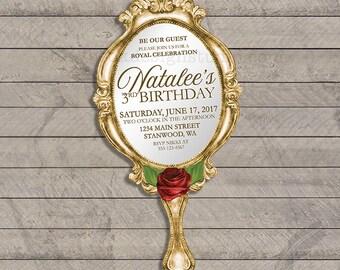 Gold Mirror Birthday Invitation, Sweet 16, beauty, beast, roses, tale, time, classic, beautiful, simple, digital file, printable