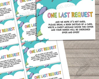 Oh the Places Baby Shower Book Request Insert Cards, baby shower, digital, printable, instant download