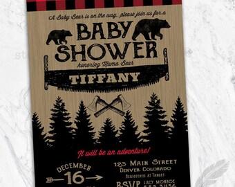 Lumberjack Baby Shower Invitations , bear, buffalo plaid, outdoors, deer, antlers, rustic, country