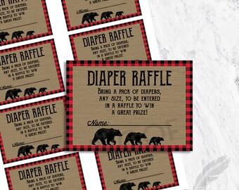 Lumberjack Diaper Raffle Tickets, baby shower, red, black, gingham, digital, printable