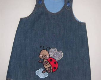Pinafore dress in denim for a girl of 2-3 years Ref.9202