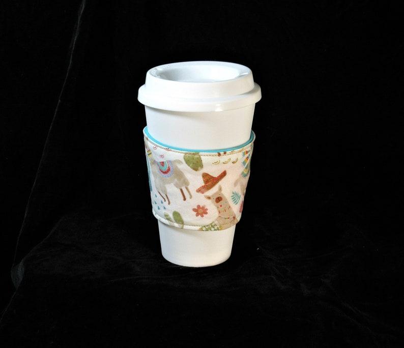 Beverage Cozie Iced Tea lovers gift NO Prob LLama hot or cold coffee sleeve tan white aqua environmentally friendly great mom gift