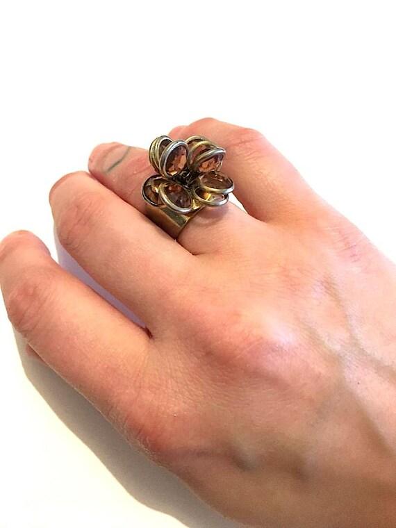 1960's Vintage Gemstone Flower Ring (Adjustable)