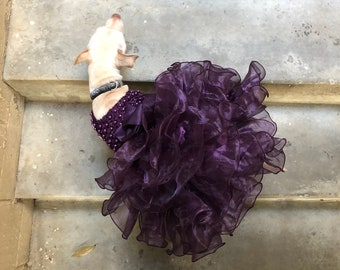 Bridesmaid, Flower Girl, Wedding, or Ball Gown for Dogs: One Formal Party Dog Dress w Organza Ruffles + Pearls over Satin + Lace