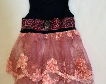 Rebel x Princess 2018: Lace & Leopard punk princess party dress in pink and black for XXSmall to Medium dogs