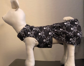 Gothic puppy time! The Little Black Dress: XXS-XXXXL reversible black x skulls dress for dogs