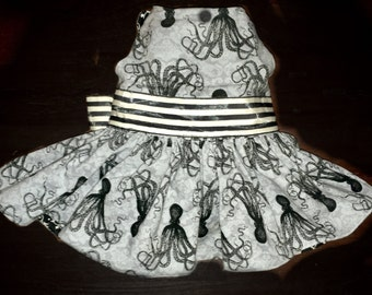Custom Octopus & Victorian skulls small dog princess tea party dress - made of cotton fully lined w/ goth steampunk appeal