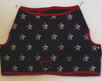 USA! American Independence Day Patriotic reversible small to medium lightweight cotton dog harness
