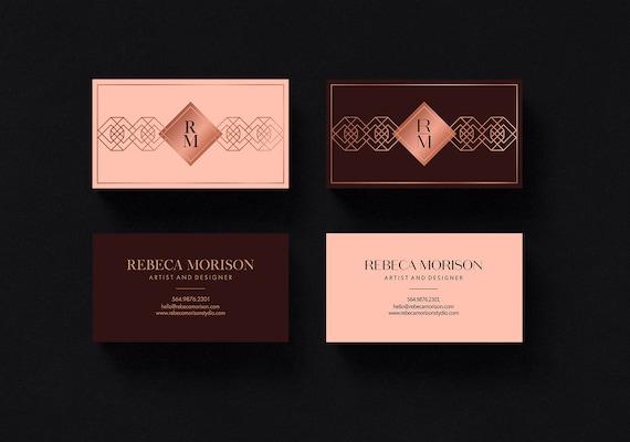 Printable Business Cards Burgundy Art Deco Rose Gold Business Card Gold Foil Business Card Templates Moo Business Card Design