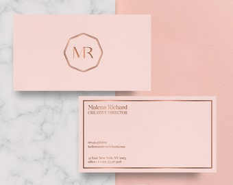 Pink business card etsy business card template rose gold printable business card design pink business card rose cheaphphosting Image collections
