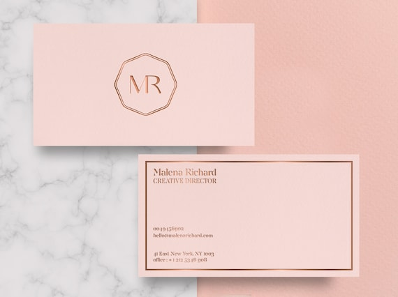 Rose Gold Foil Business Cards Business Card Templates