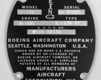 Boeing B-17 Sentimental Journey Data Plate on Aluminum Stock DPL-0101SJ