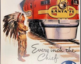 1930s Chief California Cajon Pass Vintage Railroad Travel Advertisement Poster