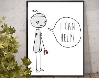 Fargo Poster, Fargo I can help, Minsky the robot, the planet wyh, story of minsky, fargo minsky robot, I can help minsky Fargo minsky poster