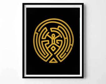 WestWorld Maze, WestWorld labyrinth, Westworld poster, Man in black, westworld gift, Live Without Limits, tv series print, halloween print