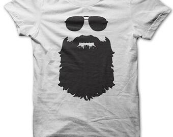 Beard T Shirt - Beard And Aviators T Shirt - Beard Tshirt - Beard Growers Tshirt - Funny Beard Tshirts - White - S-5XL - Beard Fans