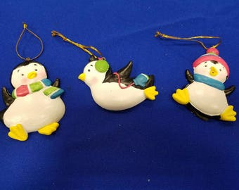 Playful Penguins Christmas Ornaments
