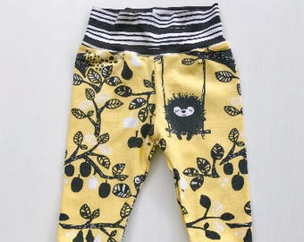 Black and Yellow Creature Baby Leggings, Toddler pants, Trendy Baby Clothes