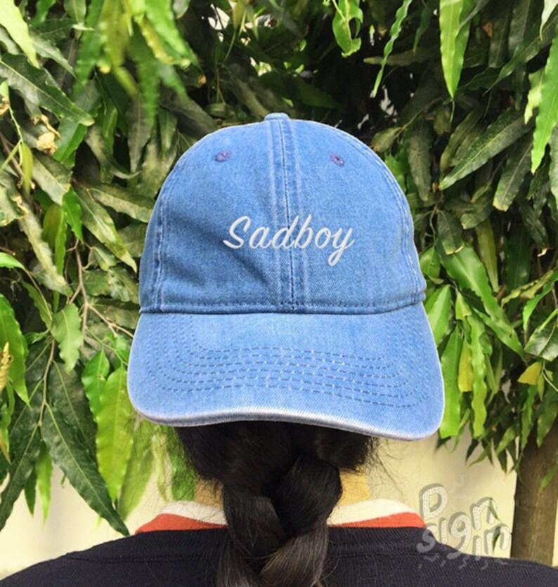 Sad Boy Embroidered Denim Baseball Cap Cotton Hat Unisex Size  8d625a685d27