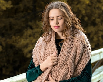 393f9c5101a KNITTING PATTERN DIY Chunky Cable Knit Infinity Scarf Big Scarf Chunky Wool  Scarf Long Oversized Knitting Scarf Knit Woman Hand Knit Scarf