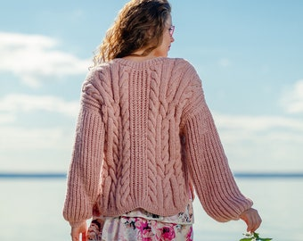 18dcc74b37 Knit Sweater Women Pink Sweater Wool Sweater Handmade Knit Pullover Warm  Sweater Knit Cardigan Top Womens Clothing Knitted Warm Sweater