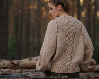 Hand Knit Sweater for Women Oversized Sweaters Womens Knitwear Wool Sweater  Handmade Knit Pullover Warm Sweater Knit Top Knitted Sweater f0bc4b68e