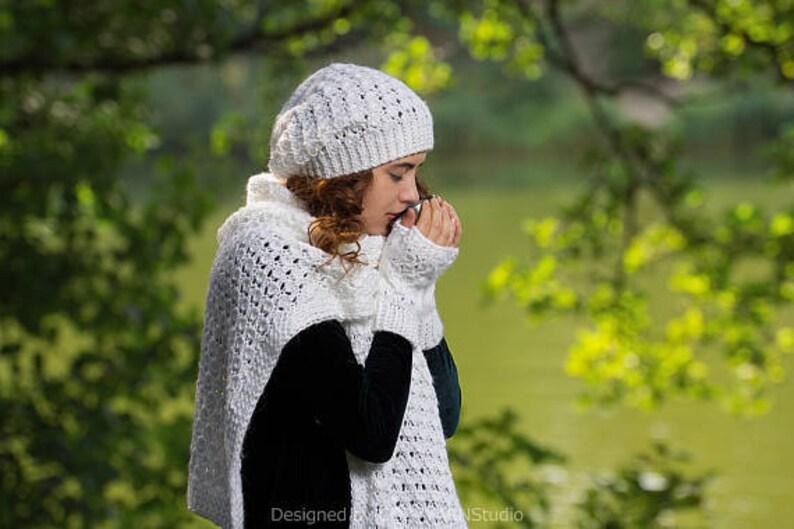 dd4c6d812f2 Cache-cou tricot écharpe en tricot blanc ensemble bonnet