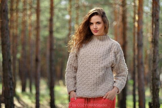 2c4e98e40e Knit Sweater Women Chunky Sweater Oversized Wool Sweater