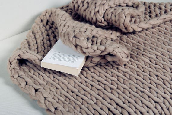 Chunky Knit Blanket Throw Blanket Merino Wool Blanket Knit Etsy Amazing Merino Wool Blanket Throws
