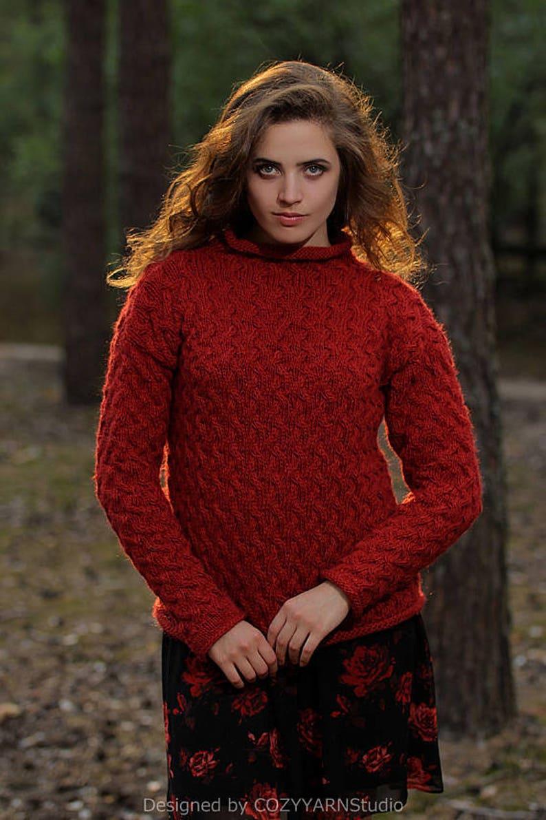 436008b924 Knit Sweater Women Red Sweater Wool Sweater Handmade Knit