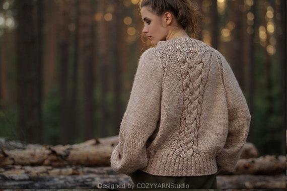 Hand Knit Sweater For Women Oversized Sweaters Womens Knitwear Wool Sweater Handmade Knit Pullover Warm Sweater Knit Top Knitted Sweater