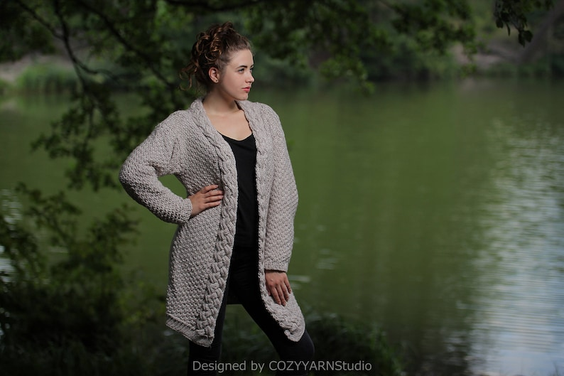 cd32675ccc Knit Cardigan Women Girl Hand Knit Jacket Women Oversized   Etsy