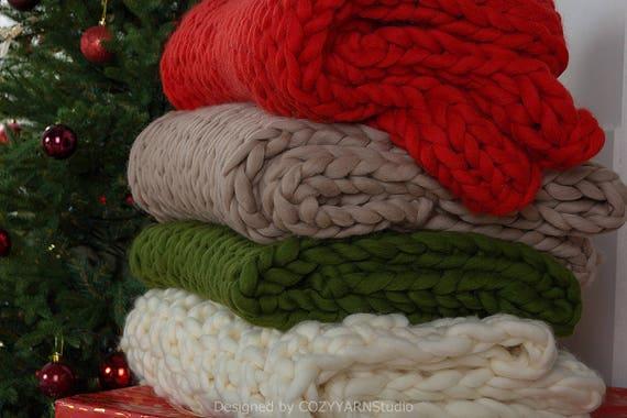 Couverture en laine mérinos couverture tricoté jet couverture tricot bébé  doudou Super grosse laine couverture Chunky jet tricot couverture tricot  laine jet dd850e52985