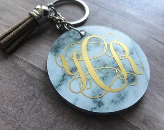 Marble monogramed keychain, monogramed keychain, marble keychain, car key chain, luggage keychain, backpack keychain, marble pattern