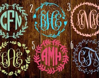 Wreath border monograms, wreath monograms, southern monograms, Preppy monogram decals, car monograms, waterbottle monograms, laptop monogram