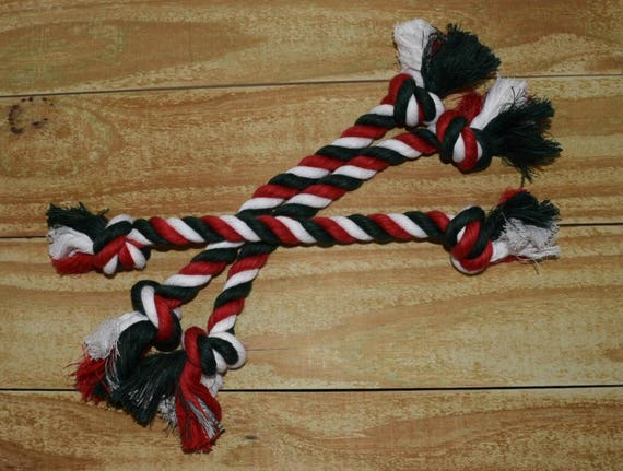 689a3ba01 Green Red and White Dog Tug Toy Cotton Rope