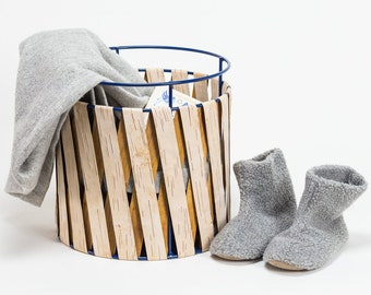 Basket of wire/metal with birch bark covering - laundry basket - laundry collector - hygge decoration storage nature - fair and sustainable - GREAT