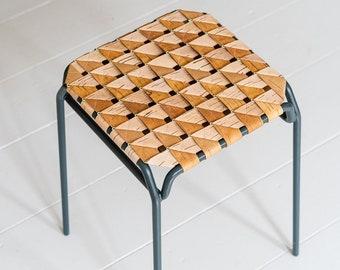 Stool in birch bark braid and metal - TABURET - Sustainable seating in Siberian birch - Furniture by MOYA Birch Bark