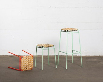 Bar stools made of birch bark Braid and metal - TABURET - Sustainable seating furniture made of Siberian birch - Furniture by MOYA Birch Bark