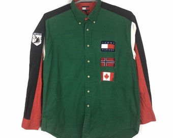 b06c681c Vintage 90s Tommy Hilfiger Ski Patch Canada and swiss Zealand flag colour  Block Button up L size
