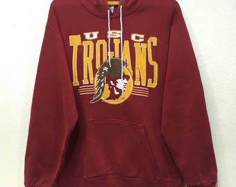 Vintage Usc Trojans hooded jumper spell out L size Red colour 9a60985a9fab