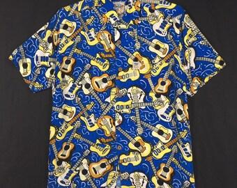 13c6fe15 Vintage MAMBO 100% Rayon Hawaii shirt Mambo Hawaiian Tropical Floral motive Hawaii  Aloha guitar Rayon Shirt Tag S size fit to Large size