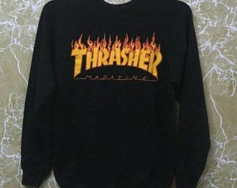5dcf436f8944 Vintage 80s Thrasher Skateboard sweatshirt black colour M size