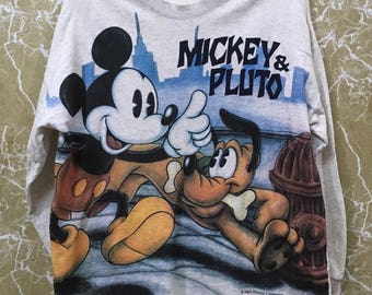 Vintage Mickey Mouse and pluto walt disney crewneck big logo sweatshirt jumper jacket L size