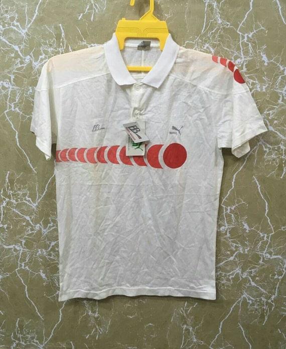 Vintage 90er Jahre Puma Polo Boris Becker Tennis Shirt weiss Farbe M Größe Nos Vintage mit tag