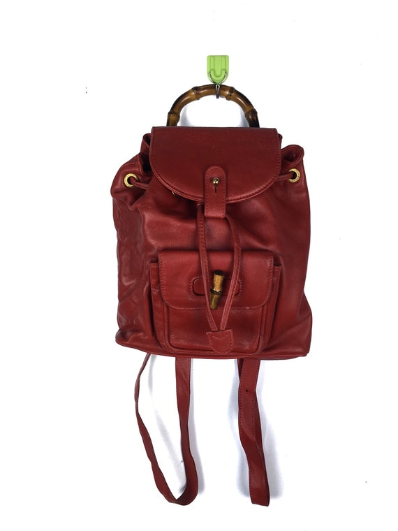 GUCCI Bamboo Mini Backpack Red Leather Italy Authentic   Etsy 9e1cd72426
