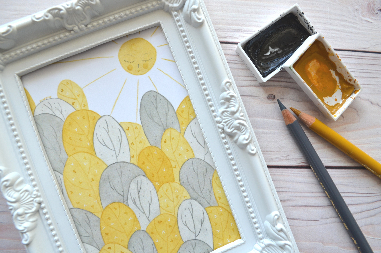 Forest print sun print watercolour print wall art home   Etsy