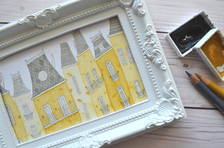 City print watercolour print wall art home decor room | Etsy