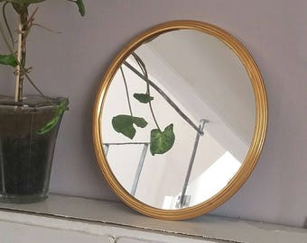 Vintage gold round tray mirror